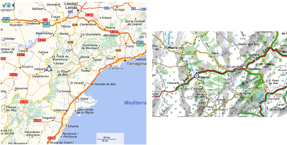 Mapa De Tarragona Pueblos.La Posada Casa Rural Caseres Terra Alta Tarragona