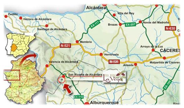 mapa de Casa Rural La Vega