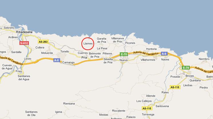 mapa de Casas Rurales Playa De Guadamia