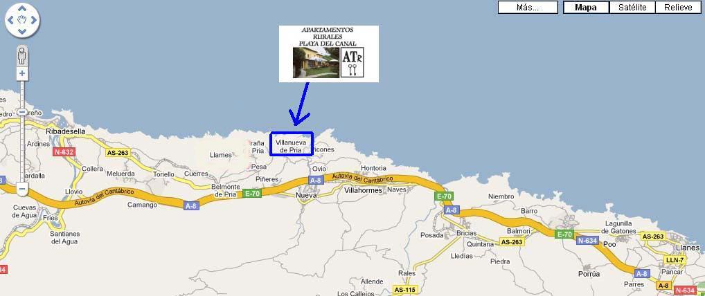 mapa de Apartamentos Rurales Playa Del Canal