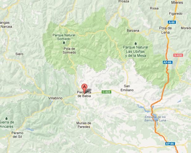 mapa de Los Pinos De Babia