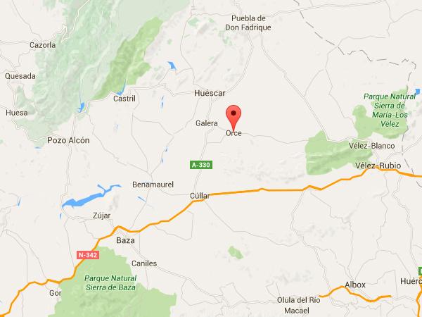 mapa de Alojamietos Cuevas En Orce