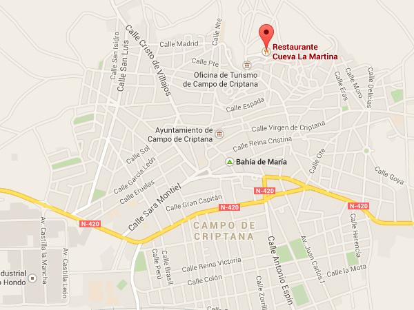 mapa de Restaurante Cueva La Martina